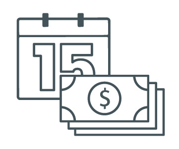 Icon of a calendar with money in front of it. Money in Time.